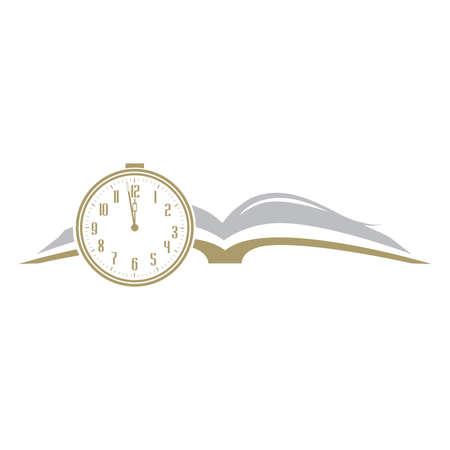 book and clock, vector logo icon