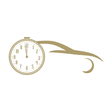 gold car and clock, vector