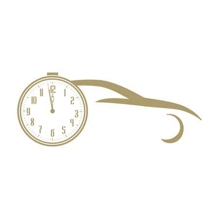 gold car and clock, vector