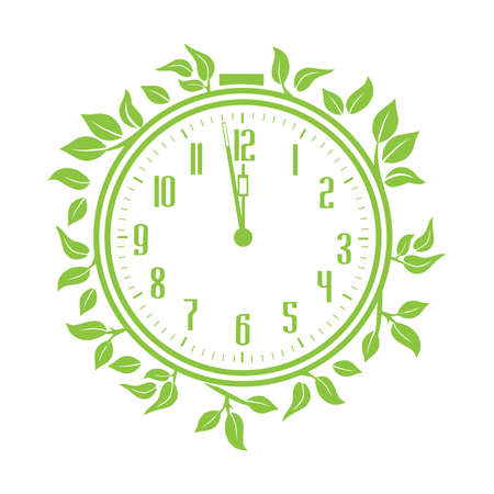 green leaves and alarm clock, vector artwork