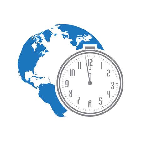 Alarm clock and blue planet Earth, vector Çizim