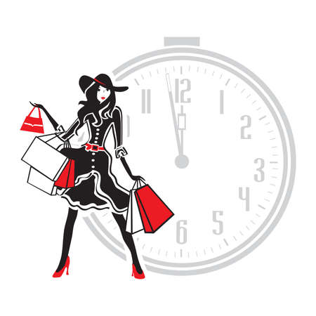 fashionable woman with shopping bags and alarm clock, vector Çizim