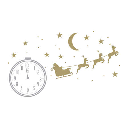 old fashion alarm clock, stars, moon and Santa Claus in sky riding sledge, vector