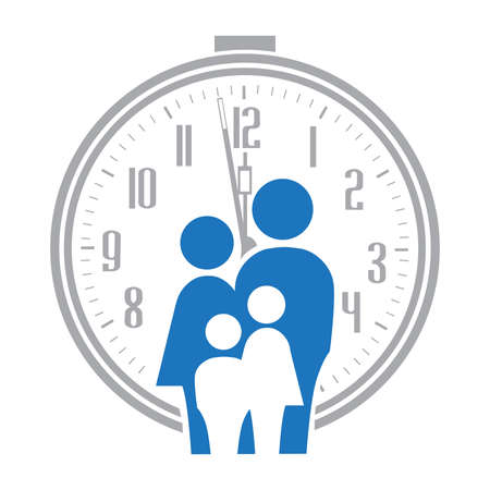 abstract blue family with alarm clock in behind, vector Illustration
