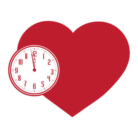 clock and heart, vector graphic design element Stok Fotoğraf - 133387038