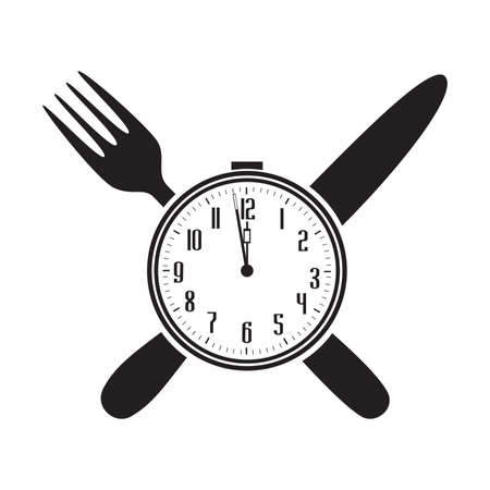 clock, knife and fork, vector