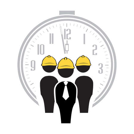 alarm clock and abstract human figures with yellow hard hats, vector