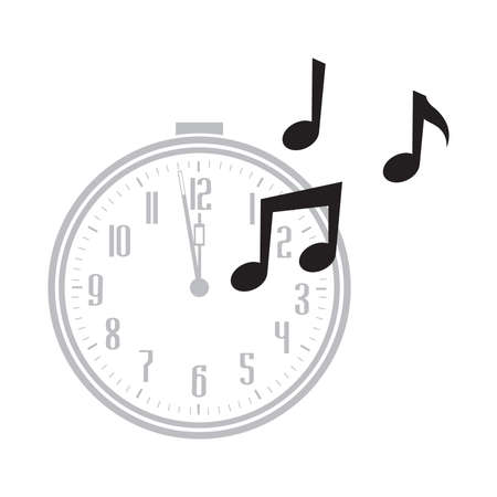 clock and musical notes, vector