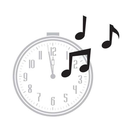 clock and musical notes, vector Stok Fotoğraf - 133387044