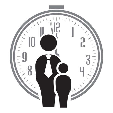 Dad and son with alarm clock in behind, vector Stok Fotoğraf - 133387059
