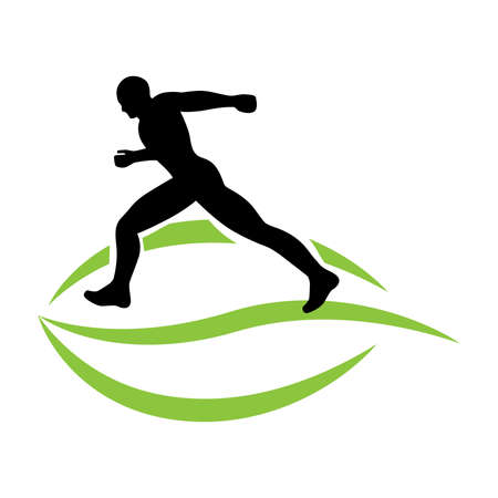green leaf and runner, vector graphic design element Illustration