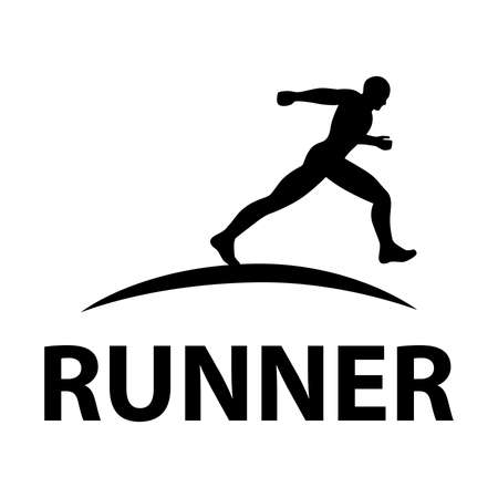 black runner, sport related vector graphic design element