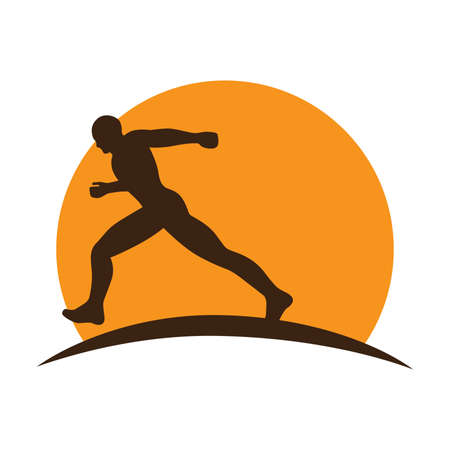 running man with huge orange sun in behind