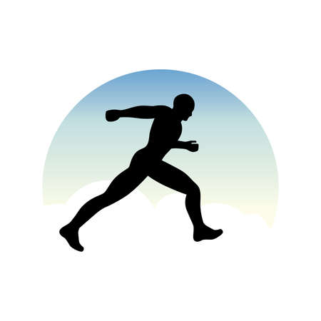 runner with morning sky in behind, vector Illustration