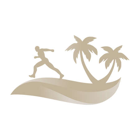 gold runner and dune with palms, vector graphic design element Illustration