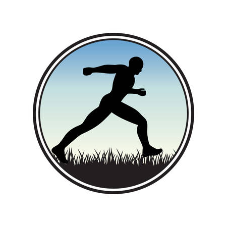runing human figure, sky and frass,. vector