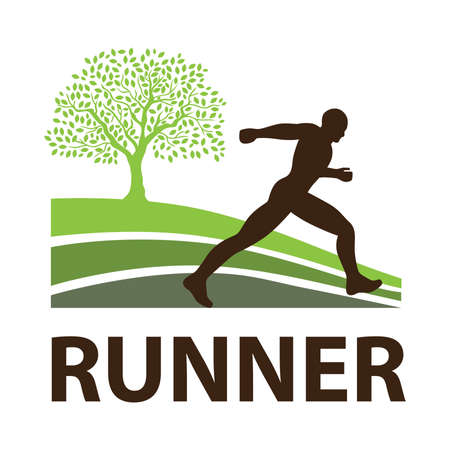 running man with green tree in behind, vector graphic design element