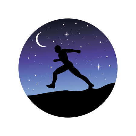 runner with night sky in behind