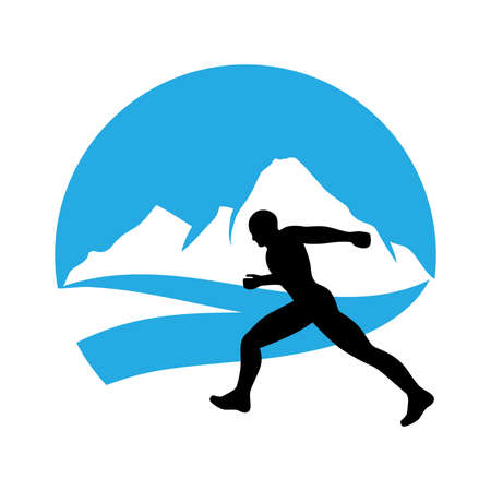 runner and blue mountain landscape in behind, vector graphic design element
