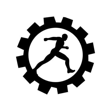 black gear and runner, vector
