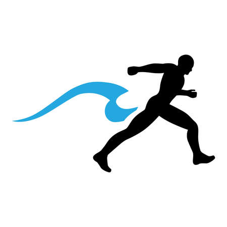 runner and blue water wave, vector Illustration