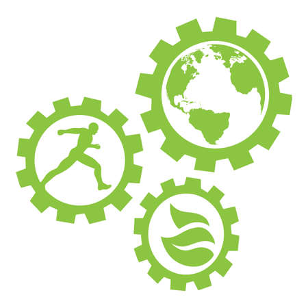 runner, planet earth and leaves inside green gears, vector