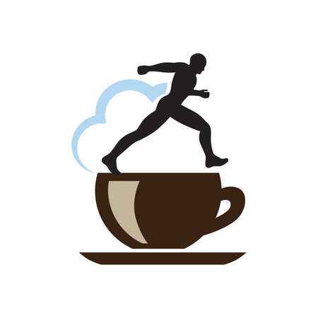 cup of coffee, runner and blue cloud, vector Stok Fotoğraf - 133387138