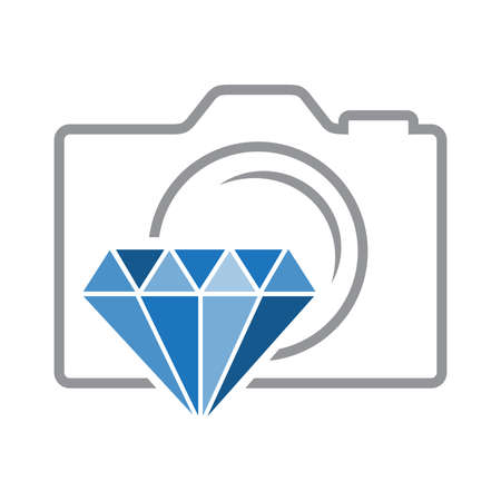 abstract photo camera and blue diamond