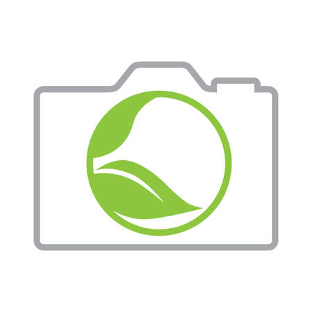 abstract photo camera and green leaves