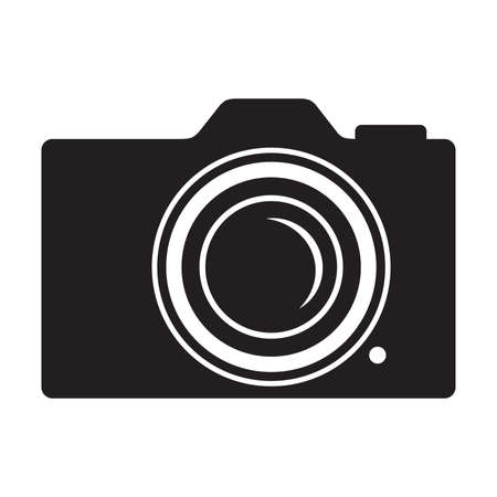 photo camera, black and white vector graphic design element Иллюстрация
