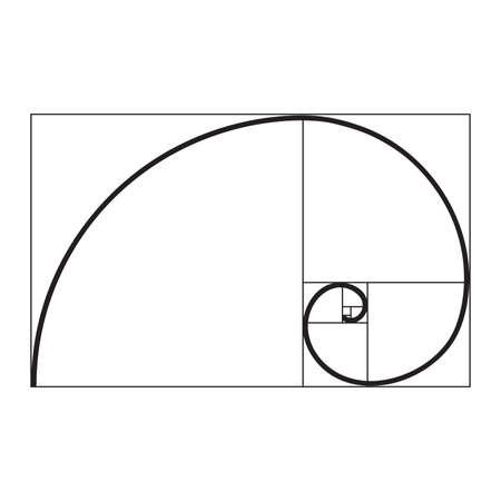 espiral de proporción áurea Ilustración de vector