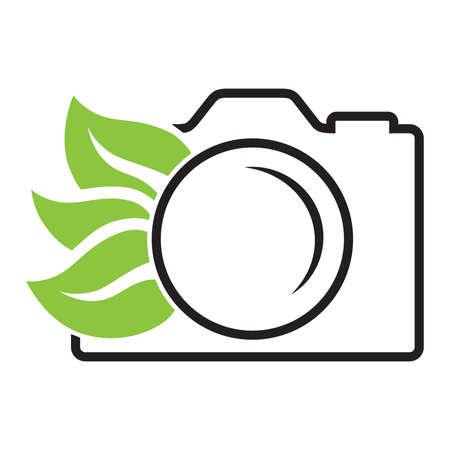photo camera and green leaves