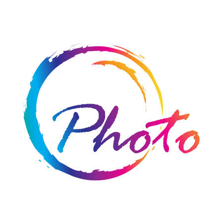 Abstract camera objective and word photo, vector