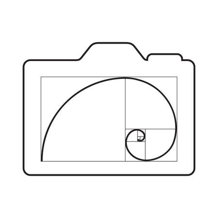 photo camera screen and golden ratio spiral