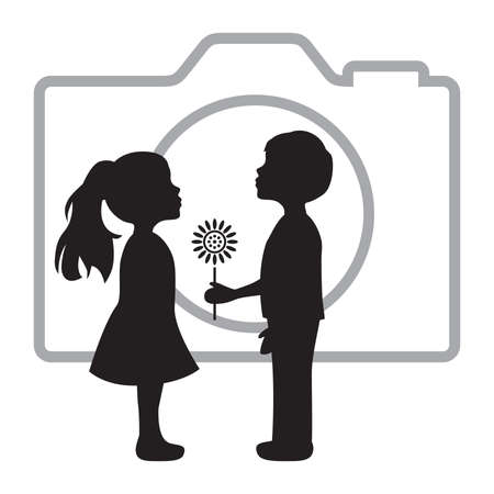boy giving flower to girl in front of photo camera, vector Иллюстрация