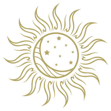 golden ornamental sun, moon and stars, vector graphic design element Vector Illustration