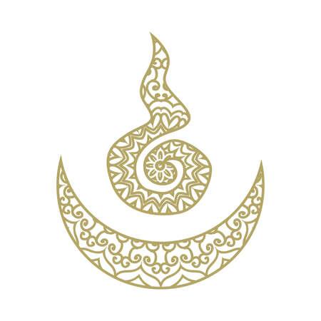 Stylized ornamental Tibetan vector symbol for universe, moon and sun