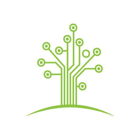 utworzono drzewo z obwodami drukowanymi, element projektu grafiki wektorowej