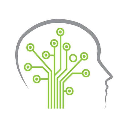 circuit board create tree inside human head, vector Ilustracje wektorowe