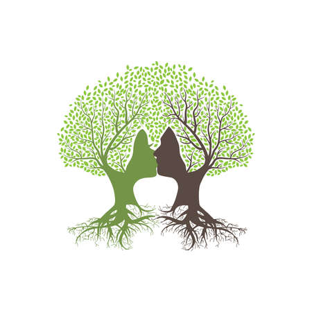 Love trees with human faces, vector graphic design element