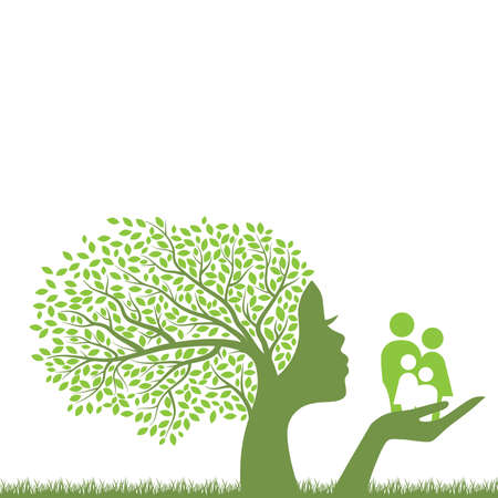 green tree with female face holding miniature abstract human family