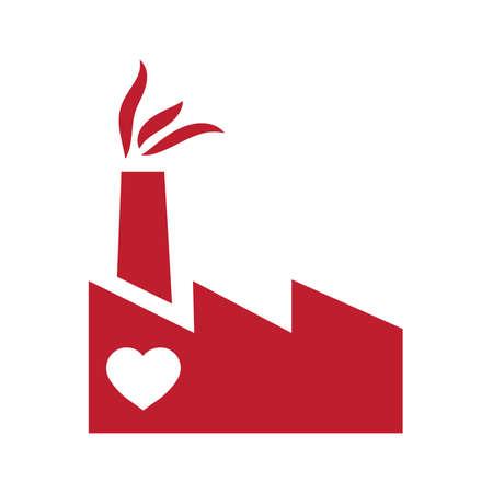 heart inside red factory Illustration