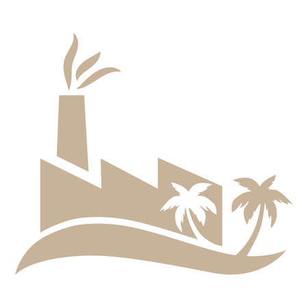 Dune with palms and factory Illustration