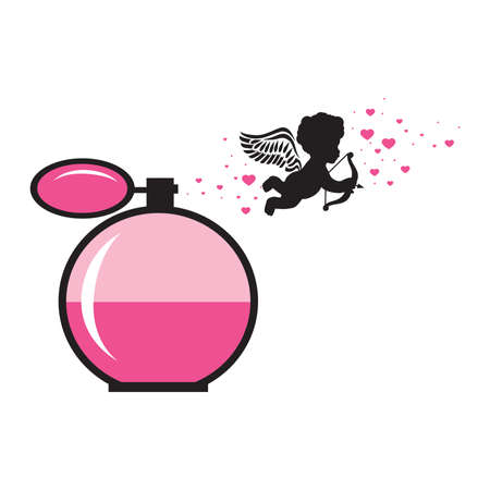 miniature cupid, pink hearts and perfume bottle