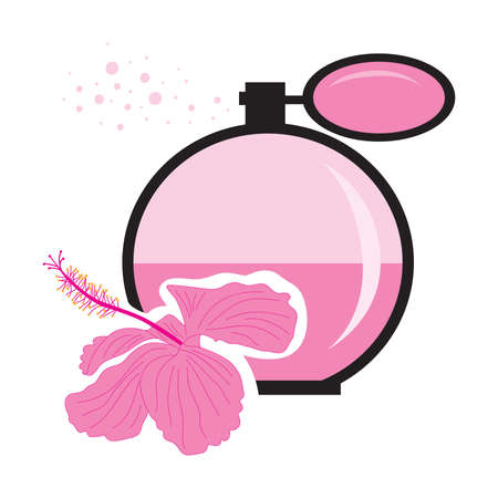 pink hibiscus flower and perfume bottle