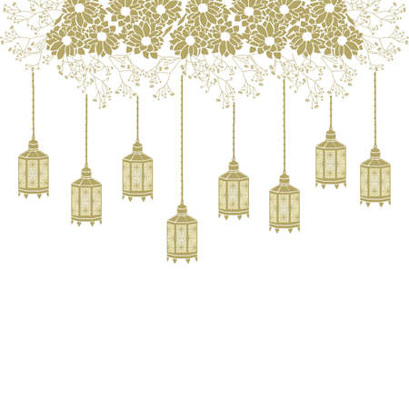 gold flowers and hanging lanterns, vector