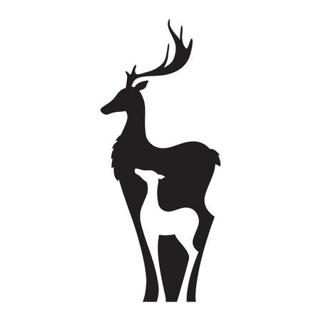 doe and fawn, vector graphic design element