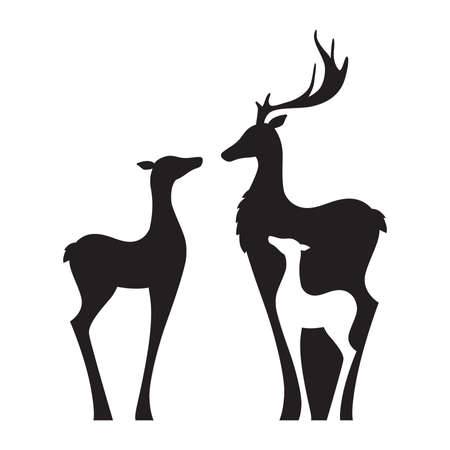 deer, doe and fawn, vector graphic design element