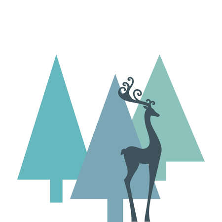 pine trees and deer, vector graphic design element Çizim