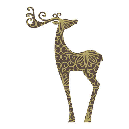 abstract ornamental deer, vector graphic design element Çizim